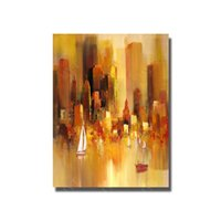 Wholesale Hand Painted Oil Painting Reproductions - Modern Abstract Cityview Oil Painting on Canvas for Living Room Decor Hand Painted Reproduction Oil Painting No Framed