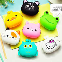 Wholesale Candy Gift Animal - hot sale Silicone Coin Purse Cartoon animal cute candy color mini money For Kids Girl Gift free shipping