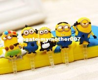 Wholesale Minions Plug - Fashion and Funny Style 3.5mm Cute Yellow Minions Design Mobile Phone Ear Cap Dust Plug For ipphone For Samsung dust plug