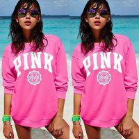 Wholesale Wholesale Women S Sportswear - Pink Letter Print Women Cotton Hoodies VS Pink Autumn Sportswear Sweatshirts VS Harajuku Tracksuit Long Sleeve Pullover LJJO2277