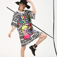 Wholesale Kong Dress - Wholesale-2016 Hong Kong version of street hedging round neck short sleeve letter loose plus size T-shirt dress female summer 56250