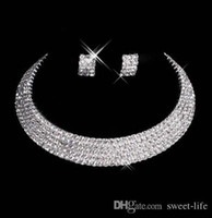 Wholesale pierce jewelry resale online - Designer Sexy Men Made Diamond Earrings Necklace Party Prom Formal Wedding Jewelry Set Bridal Accessories In Stock