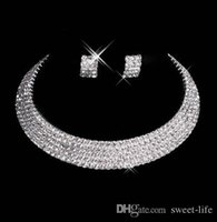 Wholesale wedding necklaces online - Designer Sexy Men Made Diamond Earrings Necklace Party Prom Formal Wedding Jewelry Set Bridal Accessories In Stock