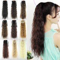 Wholesale Ladies Bun - Wholesale-55cm 10 Colors Women Hair Extensions Afro Kinky Curly Hair Ponytail Hairpiece Wave Lady Ponytails Ombre Hair Pieces Buns Peruca