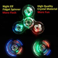 Chenghai blade high times - Crystal Clear Hand Spinner Fidget Toy LED Light Transparent Sides Three Blades Tri Spinner High Speed Bearing Long Spin Time
