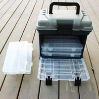Vente en gros - Portable 5 Layer Big Fishing Lure Bait Hooks Container Tackle Tool Box de rangement avec poignée en plastique Case Outdoor Organizer