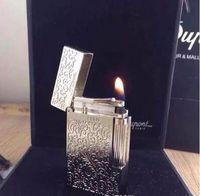 Wholesale flower memorial - New ST memorial lighter Silver flower pattern bright sound gas lighter free