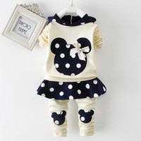 Wholesale Mouse Outfits - Wholesale- Girls Clothing Sets Minnie Mouse Mickey Baby Toddler Girl Clothing Girls Christmas Outfit Thanksgiving Tracksuit Girls Clothes