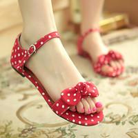 Wholesale Cheap Plus Size Korean Fashion - Cheap Fashion Korean Style Summer Red Black Blue Casual Flat Women Sandals Shoes Bowtie Polka Dot,Plus Big Size:34-43