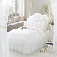 Wholesale Luxury Queen Bedspreads - Wholesale-Luxury Snow White lace bedspread princess bedding sets queen king size 6pcs Ruffles duvet cover bed skirt bedclothes cotton