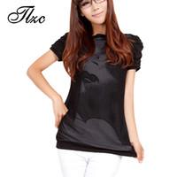 Wholesale Ladies Plus Size Tops Patterns - Wholesale- TLZC Lowest Price Korean Women Casual T-Shirt Plus Size 3XL-4XL Print Pattern Puff Sleeve Black Color Lady Cotton Tops