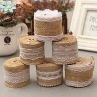 Wholesale Wholesale Fabric Tape Trim - 2 Meter Jute Lace Ribbon Sewing Tape Natural Burlap Fabric Roll Trims DIY Wedding Cake Christmas Decoration Party Crafts Supplies ZA2801