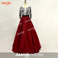 Wholesale Three Quarter Sleeve Evening Gowns - 2017 Arabic New Style Pearls Ballgown Evening Dresses Real Photos Three Quarters Sleeves O Neck Pageant Custom Make Burgundy Prom Gowns
