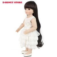 Wholesale Dolls Clothes Bjd - 48cm BJD dolls full silicone cute American girl with long hair and lovely kids clothes silicone reborn baby dolls with white dress