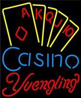 vasos de cerveza yuengling al por mayor-Yuengling Poker Casino Ace Series Cerveza Letrero de neón Custom Handcrafted Real Glass Tube Advertising Club PUB Bar Display Letreros de neón 20