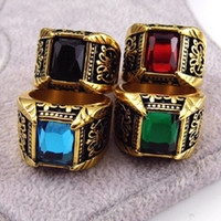 Wholesale Ring Stone For Male - Brand Jewelry Vintage Antique Gold Color Crystal Ring For Men Stainless Steel Big Square Stone Finger Ring Male Men Jewelry