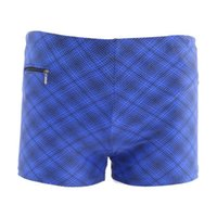 Wholesale Mens Swim Trunks Pockets - Wholesale- 2016 Sexy Men's Male Blue Plaid Swimming Trunks Large Beach Wear Zipper Pocket Mens Swim Shorts Swimwear Comfortable 5XL