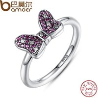 Wholesale dhgate Minnie s Sparkling Bow Ring with Purple and Clear CZ Sterling Silver Sterling Silver Jewelry PA7139