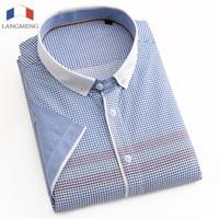 Wholesale Turndown Collar Dress Shirt - Wholesale- LANGMENG 100% Cotton 2016 New Brand Men's Casual Shirt Short Sleeve Turndown Collar Shirts Slim Fit Dress Shirt For Men Business