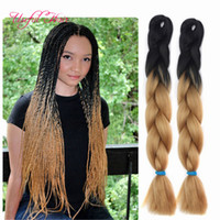 mix tone hair NZ - two tone black brown JUMBO BRAIDS tresse cheveux 24inch jumbo braiding ombre box braids hair curly kanekalon crochet synthetic hair