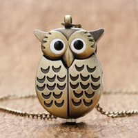 Wholesale Owl Pendant Watches - Wholesale-Bronze Night Owl Necklace Pendant Quartz Steampunk Pocket Watch Chain for Men Women P27