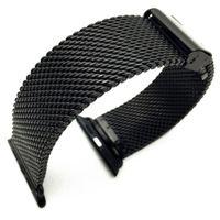 полоса для часов из янтаря оптовых-Черный миланский петля из нержавеющей стали ремешок ремешок ремешок для Apple Watch 42 мм 38 мм