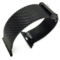Wholesale Apple Rubber Band - Black Milanese Loop Stainless Steel Band Watch Strap Band for Apple Watch 42mm 38mm