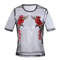 Wholesale Wholesale Sheer T Shirts - Wholesale- Women Sexy Mesh Tops Embroidery T Shirts 2017 Summer Female tshirt Transparent Sheer T-Shirt Tee Shirt Femme Korean Blusas