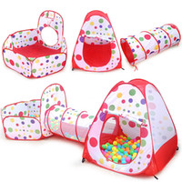 Wholesale Pop Tunnel - 3 In 1 Portable Baby Playpen Children Kids Ball Pool Foldable Pop Up Play Tent Tunnel Play House Hut Indoor Outdoor Toys Fancing