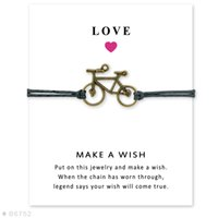 Wholesale Bracelets Bicycle Chain - (10 pcs lot) Antique Silver Bicycle Charm Bracelets & Bangles for Women Girls Adjustable Friendship Statement Jewelry with Card