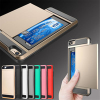 Wholesale Hard Plastic Credit Card Holder - New Hybrid Tough Case TPU + Hard PC With Slide Storage Wallet Credit Card Holder Armor Cover For iPhone 7 iPhone 7 Plus