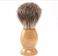 Cheap Professional barber hair shaving Razor brushes New Wood Handle Badger Hair Shaving Brush For Best Men Gift Barber Tool Mens Face Care