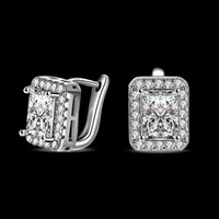Moda de mujer Square Rhinestone Ear Stud Cuff Earrings Party Prom Jewelry
