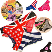 Wholesale Model Sexy Girl Underwear - Newest Fashion flag detonation model The American flag lace panties sexy women's underwear girls panties 2764