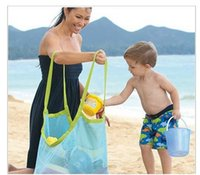 Wholesale baby mesh bag - Baby Children Beach Mesh Bag Children Beach Toys Clothes Towel Bag Baby Toy Collection Nappy