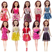 Wholesale Doll Toys Clothes - Random 10 PCS Mixed Sorts Barbie Doll Fashion Clothes Beautiful Handmade Doll Party Dress For Barbie Dolls Girl Gift Kid's Toy
