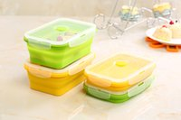 Wholesale NEW Silicone Collapsible Portable Lunch Box Bowl Bento Boxes Folding Food Storage Container Lunch Box Eco Friendly ml