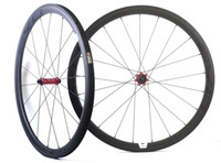 Wholesale Carbon Road Bike Wheels 25mm - 700C 38mm depth 25mm width carbon wheels road bicycle Tubular carbon wheelset with EVO straight pull hub, U-shape rim