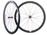 ingrosso u ruote-700C 38mm profondità 25mm larghezza ruote in carbonio bici da strada Ruote in carbonio tubolare con mozzo tiro dritto EVO, cerchio a forma di U.