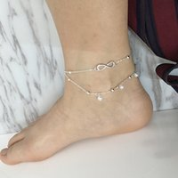 Wholesale Fresh Leg - Small fresh jewelry lady anklet 8 word double pearl anklet selling hot legs jewelry