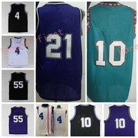Wholesale Size 21 - Retro 55 Jason Williams Throwback Jersey 4 Chirs Webber 10 Mike Bibby Vinatge 21 Vlade Divac Purple Black White Green With Name Size S-3XL