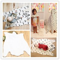 Wholesale Game Blanket Baby - 4styles Baby Cartoon Animal Blanket Soft Cotton padded black white baby game mat Tiger Fox Clown Leopord Pattern baby Rug 130*65cm