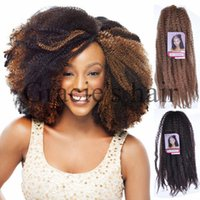 18 pouces Synthétique Marley Braids Hair Cheap Fluffy Marley Hair Crochet Braids Ombre Jumbo Afro Kinky Curly Synthetic Braiding Hair afro kinky