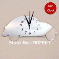 Wholesale Child Car Mirror - Wholesale- Funlife Mirror Wall Clock 45x20cm(18x8in) Mirrored Beetle Car wall Clock adhesive wallpaper child decoration house