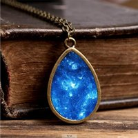 Wholesale Wholesaler Photo Jewelry - 2017 New Orion Nebula Necklace Galaxy Space Jewelry Tear Drop Pendant Universe Vintage Chain Glass Photo Necklaces