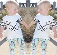 Wholesale Childrens Animal T Shirts - Wholesale Boys Girls Baby Childrens Clothing Sets Short Sleeve T-shirts Fox Printed Pants 2 Pcs Set Summer Cute Toddler Boutique Clothes