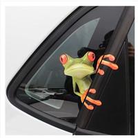 наклейки для лобового стекла для грузовых автомобилей оптовых-20 * 23 см 3D лягушка мультфильм личности автомобиля наклейки грузовик переднее окно лобовое стекло стены двери смешные виниловые наклейки наклейки автомобильные аксессуары