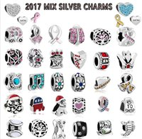 Wholesale Wholesale Jewelry Spike Bracelet - 2017 Mix Charms Free Shipping 100pcs Mix Style Antique Silver Plated Alloy Big Hole Beads fit pandora Bracelet DIY Jewelry