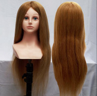 Wholesale Training Head Human Hair Blonde - DHL shipping Mannequin Dummy Maniqui Cosmetology Mannequin Doll Heads 100% Blonde Human Hair Training Mannequin Head With Human Hair