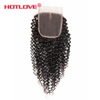 Wholesale Baby Curls - 4x4 Brazilian Peruvian Malaysian Indain Virgin Hair Lace Top Closure Pieces Kinky Curl Hair Lace Closure with Baby Hair Free Middle 3 Wavy